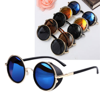 Unisex Vintage UV400 Steampunk Round Mirror Lens Glasses