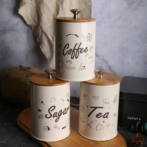 3PCS Retro Tea Coffee Sugar Storage Jar