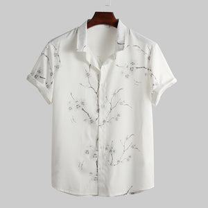 Mens Summer Fashion Plum Floral Printed Shirts