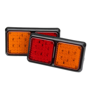72LED Tail Lights Red Amber Brake Turn Signal Lamps