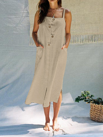 Women's Beach Long Dress with Pockets