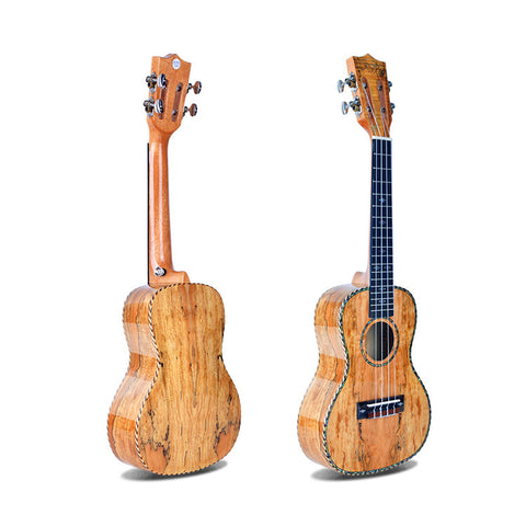 "24"" Slotted Headstock AA Spalted Maple Concert Ukulele LA7 - Zalaxy"