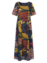 Load image into Gallery viewer, Women Crew Neck Floral Cotton Vintage Maxi Dress