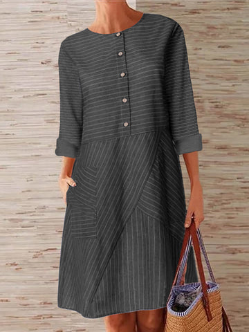 Women Striped Printed Buttoned Down Pockets Dress