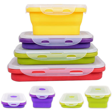 4 Size Collapsible Silicone Portable Food Storage