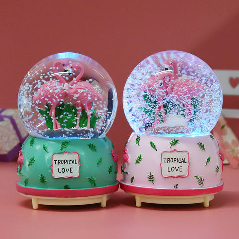 Creative Crystal Flamingo Musical Snow Globe Music Box