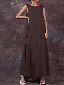 Irregular O-neck Maxi Dress