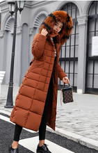 Load image into Gallery viewer, Hooded Thick Down Winter Jacket Women Big Fur Belt Coat - Zalaxy