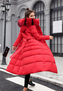 Hooded Thick Down Winter Jacket Women Big Fur Belt Coat - Zalaxy