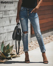Load image into Gallery viewer, Women's High Waist Ripped Denim Jeans