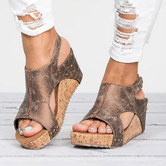 Leather Wedge Heels Sandals