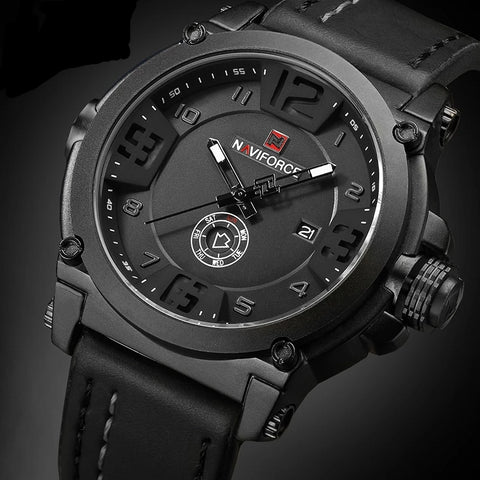 Men's Leather Analog Water Resistant Luxury Sports Watch