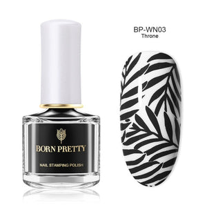 Black White Nail Stamping Polish Lacquer - Zalaxy