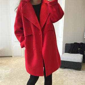 Single Breasted Long Sleeve Turn-down Collar Overcoat