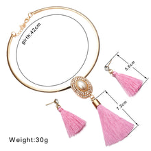 Load image into Gallery viewer, Crystal Tassel Necklace and Earrings Set