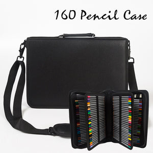 160 Hole Folding Pu Leather School Pencils Case Large Capacity Portable Pencil Bag - Zalaxy