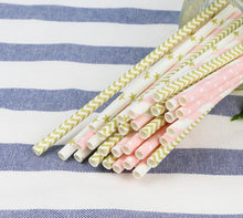 Load image into Gallery viewer, Striped Paper Drinking Straws 50pcs