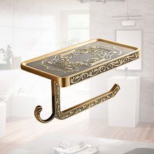 Load image into Gallery viewer, Antique Carving Toilet Roll Paper Rack with Phone Shelf - Zalaxy
