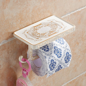 Antique Carving Toilet Roll Paper Rack with Phone Shelf - Zalaxy