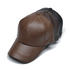 Pu Leather Solid Winter Baseball Cap