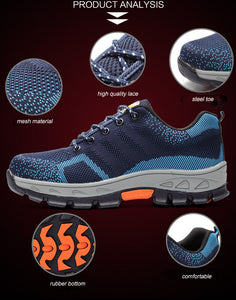 Men Fashion Mesh Breathable Steel Toe Safety Boots - Zalaxy