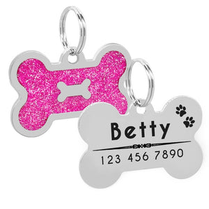 Glitter Personalized Dog Tag