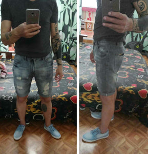 Men's Jogger Ankle Ripped Denim Shorts - Zalaxy