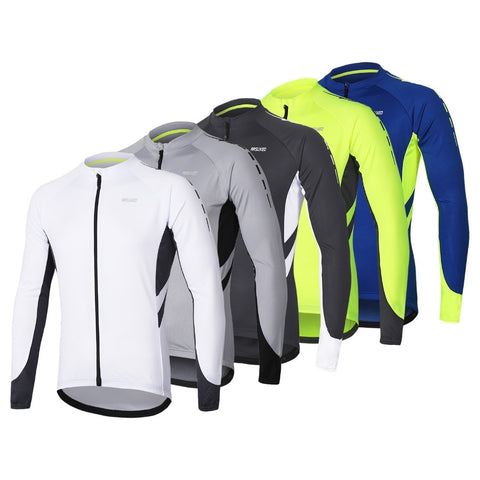 Men's Full Zipper Cycling Jersey Bicycle Bike Shirt Long Sleeves - Zalaxy