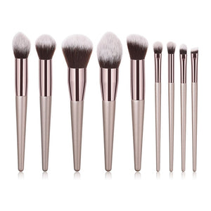 10pcs/set Champagne Makeup Brushes Set - Zalaxy