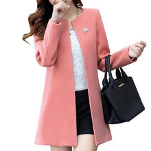 Load image into Gallery viewer, Round Neck Long Sleeve Women Coat