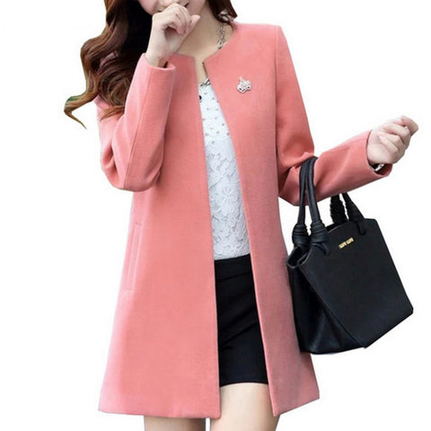 Round Neck Long Sleeve Women Coat