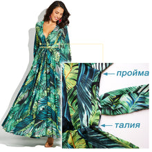 Load image into Gallery viewer, Long Sleeve Dress Green Tropical