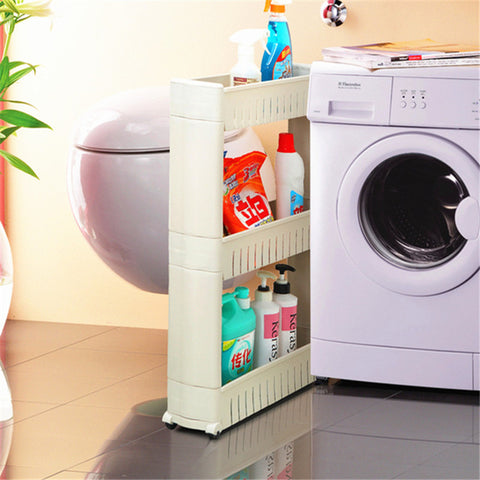 Plastic Interspace Refrigerator Space Storage Rack With Roller