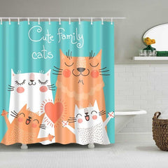 Cute Cat 3D Printed Shower Curtain