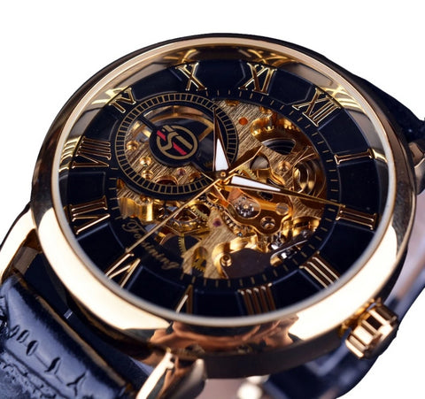 Hollow Engraving Black Gold Case Leather Skeleton Mechanical Watch