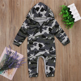 Infant Baby Boy Hooded Camouflage Romper - Zalaxy