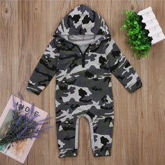Infant Baby Boy Hooded Camouflage Romper