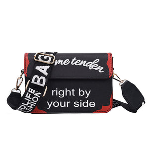 Women's Wide Handle Letter Pattern Crossbody Bag