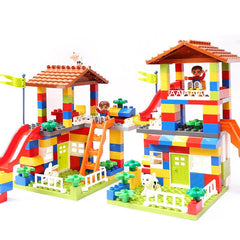 DIY City House Roof Big Particle Building Blocks Castle