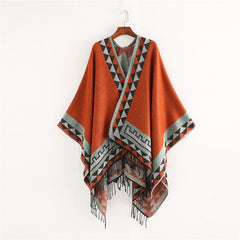 Womens Geometric Colour Warm Poncho Shawl Scarf