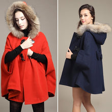 Load image into Gallery viewer, Hot Women's Girl Faux Fur Shawl Wool Hooded Poncho Batwing Half Sleeve Cape