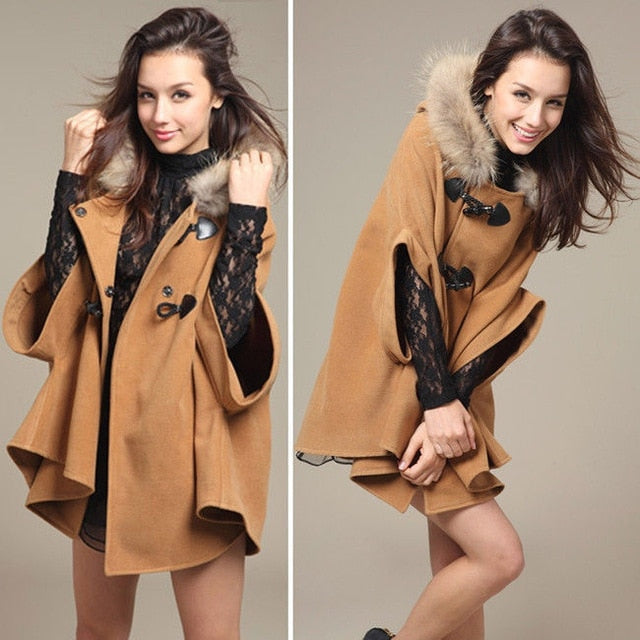 Hot Women's Girl Faux Fur Shawl Wool Hooded Poncho Batwing Half Sleeve Cape