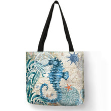 Load image into Gallery viewer, Tote Bag Seahorse Turtle Octopus Pattern Traveling Shoulder Bag