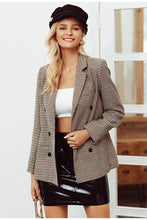 Load image into Gallery viewer, Double Breasted Plaid Blazer - Zalaxy