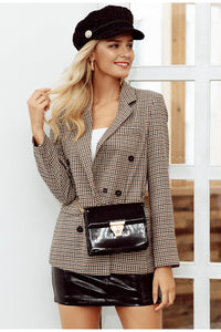 Double Breasted Plaid Blazer - Zalaxy
