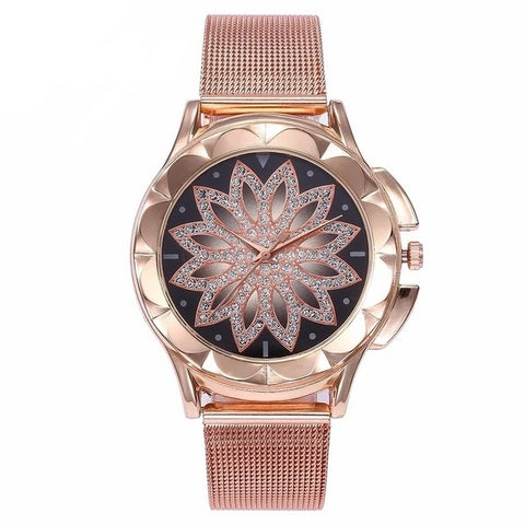 Women's Rose Gold Flower Rhinestone Wrist Watch