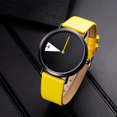 Yellow Leather Women Watch