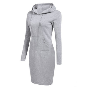 Hooded Drawstring Fleeces Women Dresses Autumn Winter Warm Dress