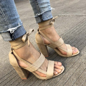 Plus Size Female Ankle Strap High Heels
