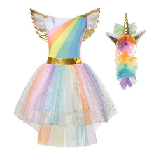 Load image into Gallery viewer, Rainbow Unicorn Dress For Girl